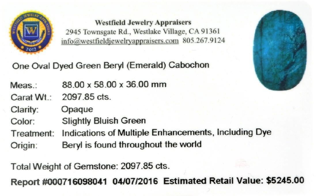 APP: 5.2k 2,097.85CT Oval Cut Cabochon Green Beryl - 3
