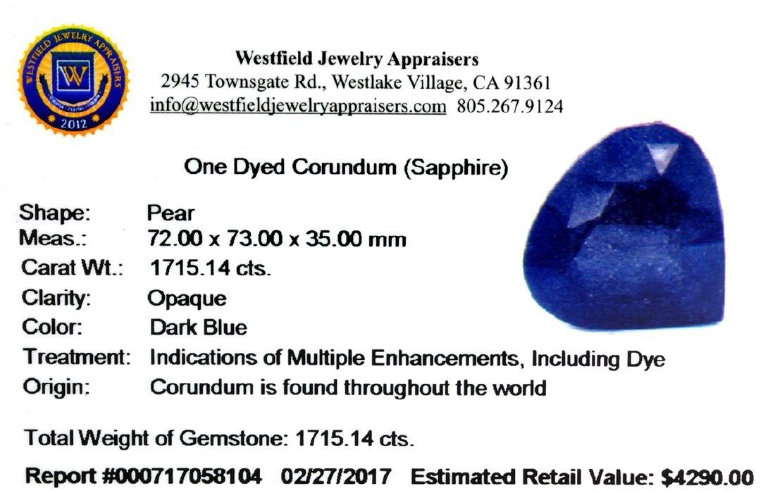 APP: 4.3k Very Rare Large Sapphire 1,715.14CT Gemstone - 2
