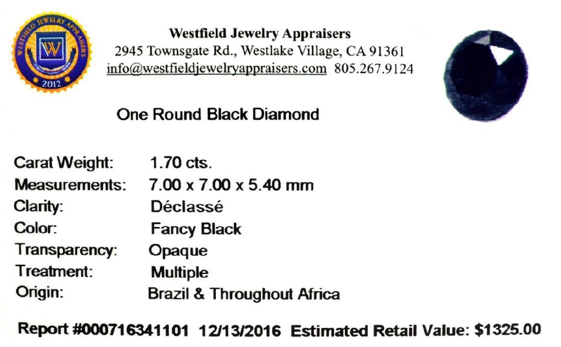 APP: 1.3k 1.70CT Round Cut Black Diamond Gemstone - 2