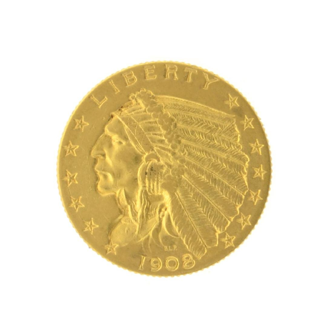 1908 $2.50 Indian Head Gold Coin