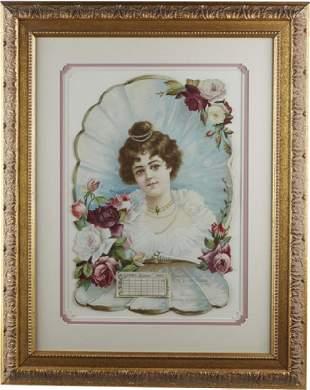 Rose And Roses 1901 Embossed Calendar Framed 22x28 P