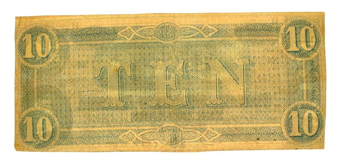 Rare 1864 $10 U.S. Confederate Note - 2