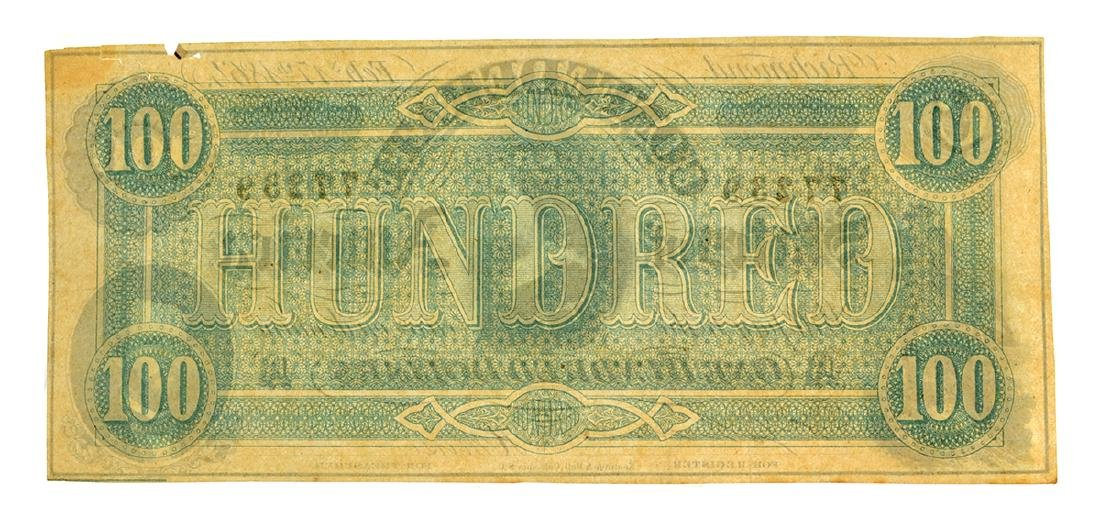 1864 $100 Famous Lucy Pickens Confederate Note - 2