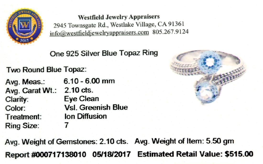 APP: 0.5k Fine Jewelry 2.10CT Round Cut Blue Topaz And - 2