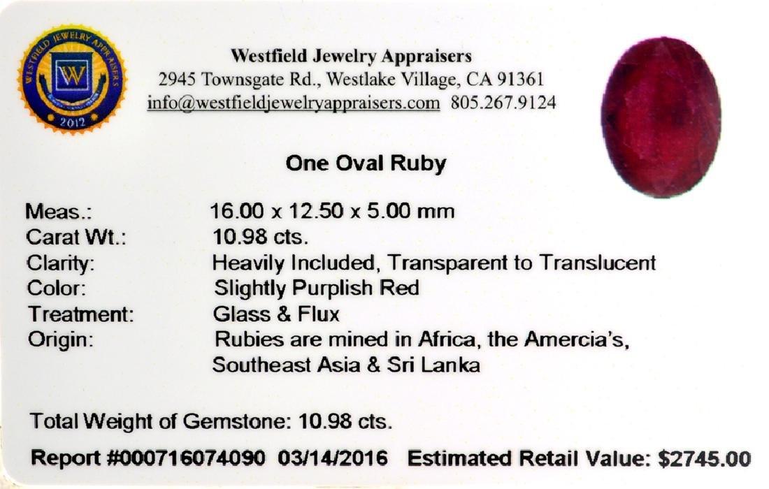 APP: 2.7k 10.98CT Oval Cut Ruby Gemstone - 2