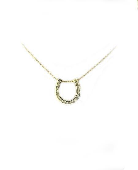 3022: 14 kt. Gold, 0.81CT Diamond Horseshoe Necklace, I