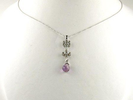 1017: GOV: 14 kt. White Gold, 2.42CT Amethyst and 0.18C
