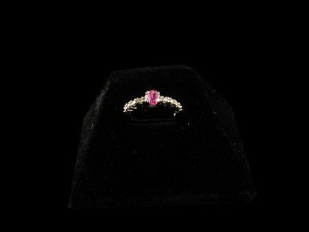 1023: GOV: 14 kt. White Gold, 0.53CT Pink Sapphire and