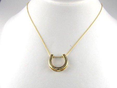 1389: 14 kt. Gold, 0.81CT Diamond Horseshoe Necklace, I