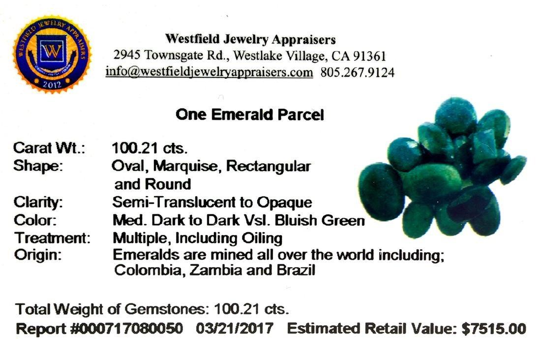 APP: 7.5k 100.21CT Various Shapes Green Emeral Parcel - - 2