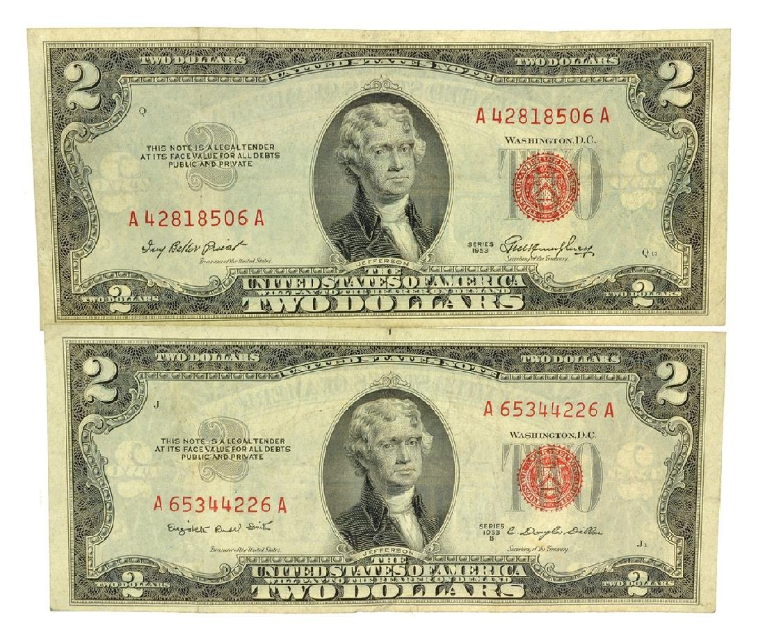 (2) 1953 $2 U.S. Red Seal Notes