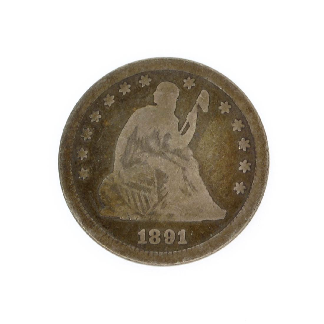 Rare 1891 Liberty Seated Quarter Dollar Coin