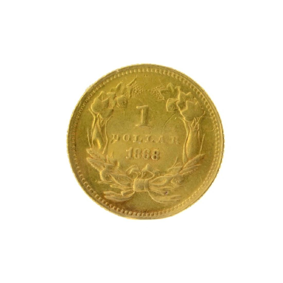 1868 $1 Large Indian Head Gold Coin - 2