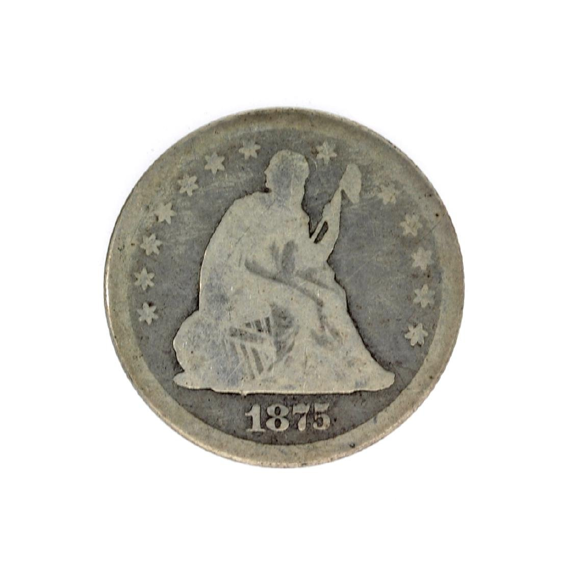 1875 Liberty Seated Quarter Dollar Coin