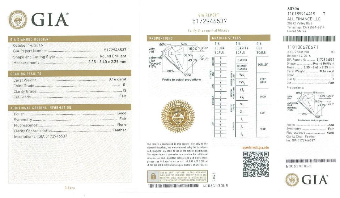 Fine Jewelry GIA Certified 0.16CT Round Brilliant Cut - 2