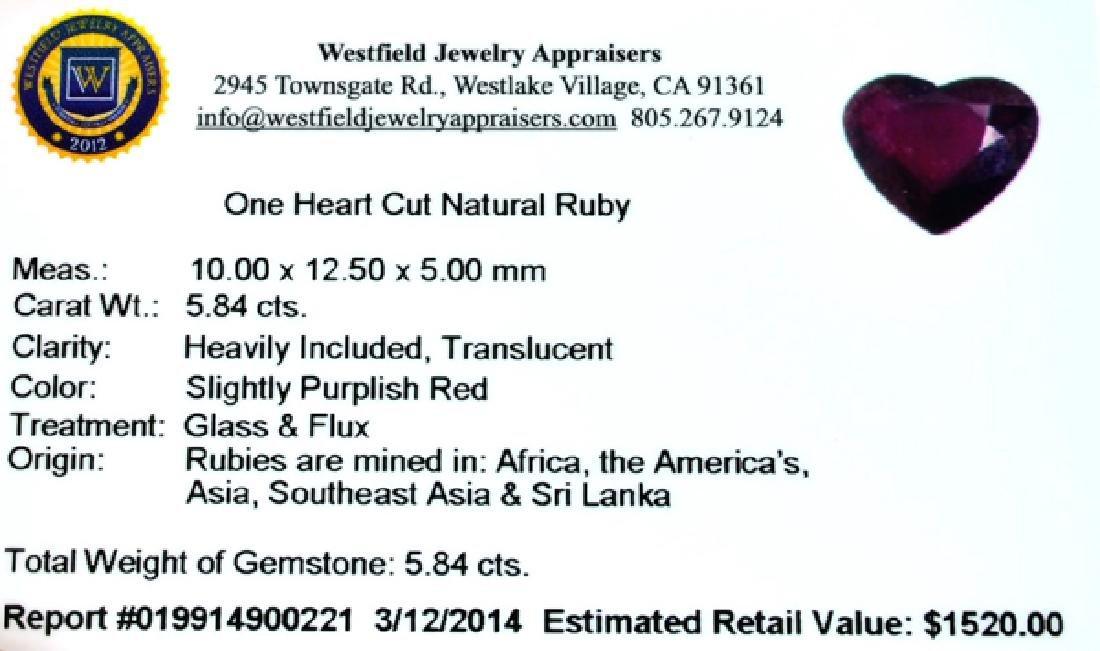 APP: 1.5k 5.84CT Heart Cut Ruby Gemstone - 3