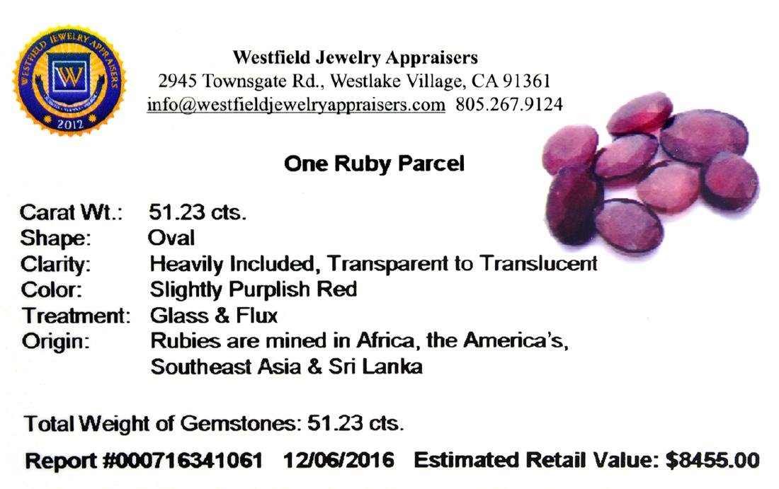 APP: 8.5k 51.23CT Oval Cut Ruby Parcel - 2