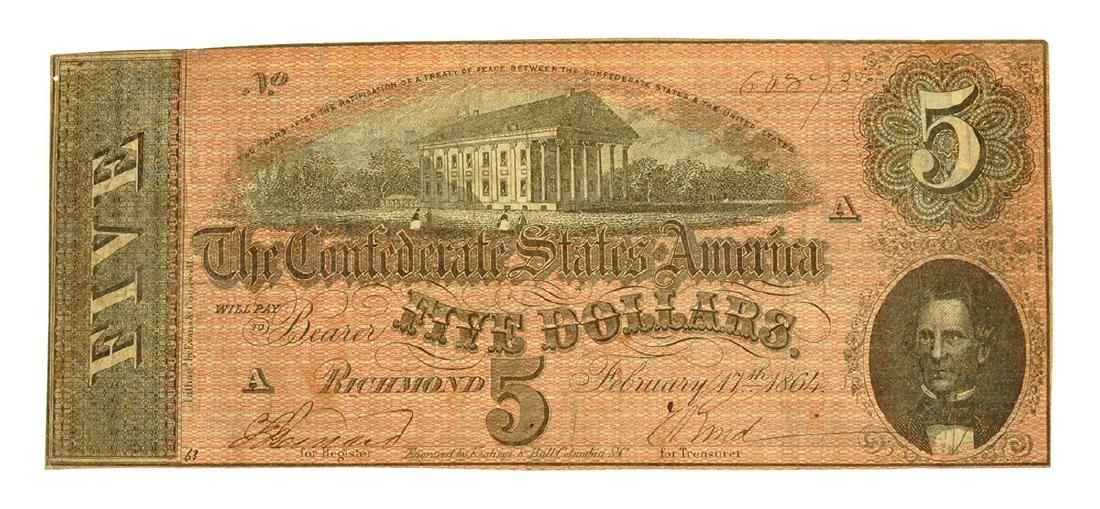 Rare 1864 $5 U.S. Confederate Note
