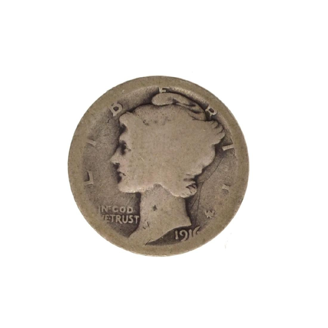 *1916-D Mercury Dime Coin - Very Rare - (JG PS)