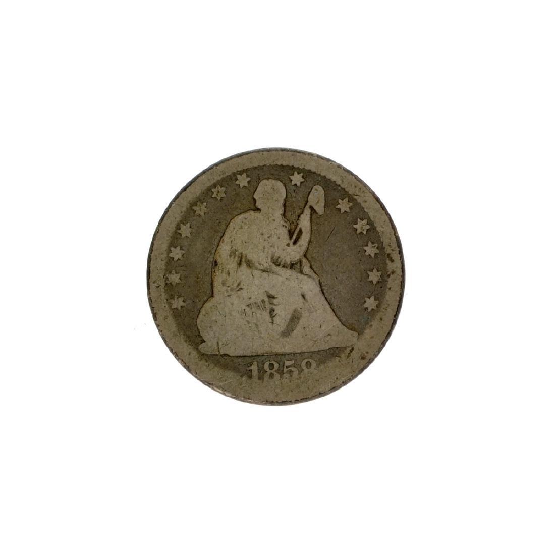 1858 Liberty Seated Quarter Dollar Coin