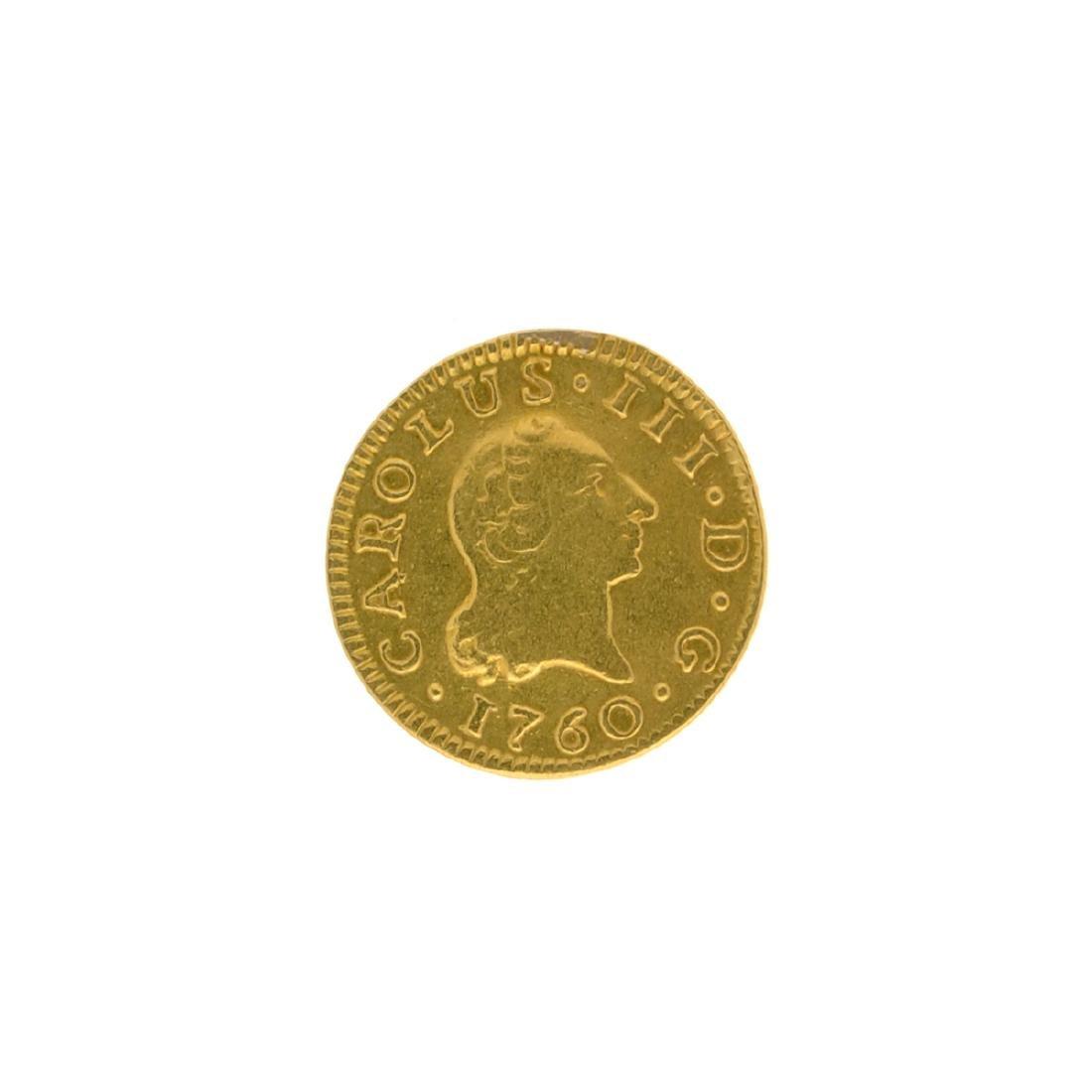 Rare 1760 Spain 1/2 Escudo Bust, Carolus III Gold Coin