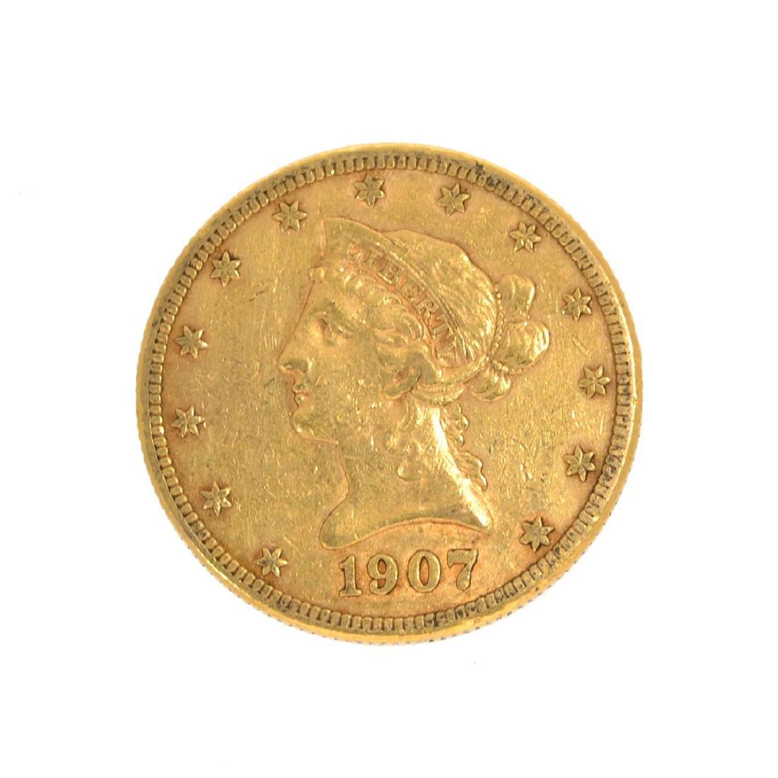 *1907-S $10 U.S. Liberty Head Gold Coin (DF)