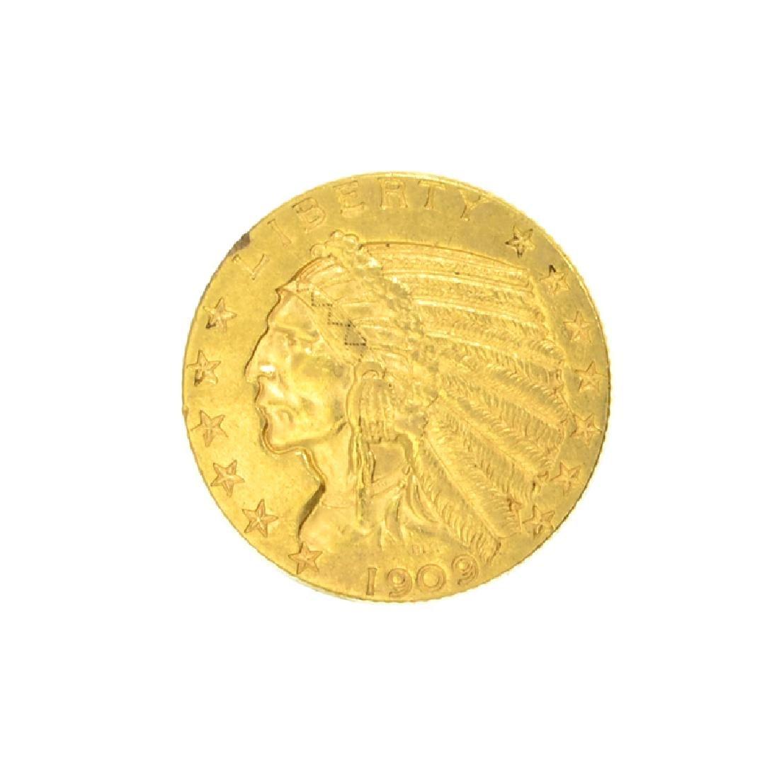 *1909-D $5 U.S. Indian Head Gold Coin (DF)