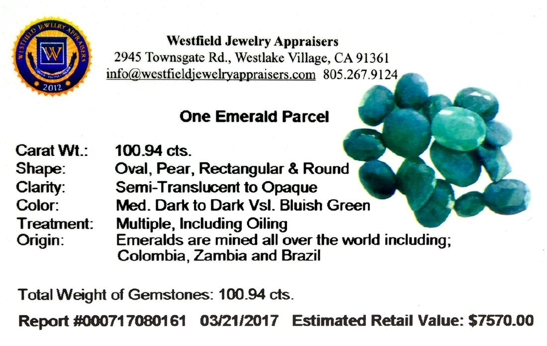 APP: 7.6k 100.94CT Various Shapes Green Emeral Parcel- - 2