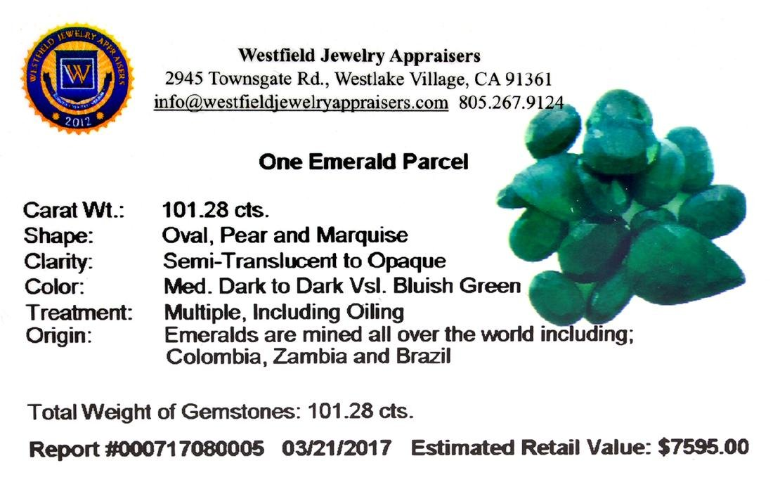 APP: 7.6k 101.28CT Various Shapes Green Emeral Parcel- - 2