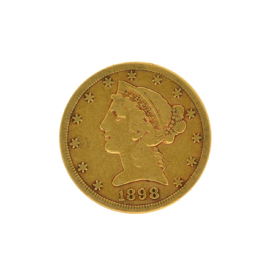 *1898-S $5 Liberty Head Gold Coin (DF)
