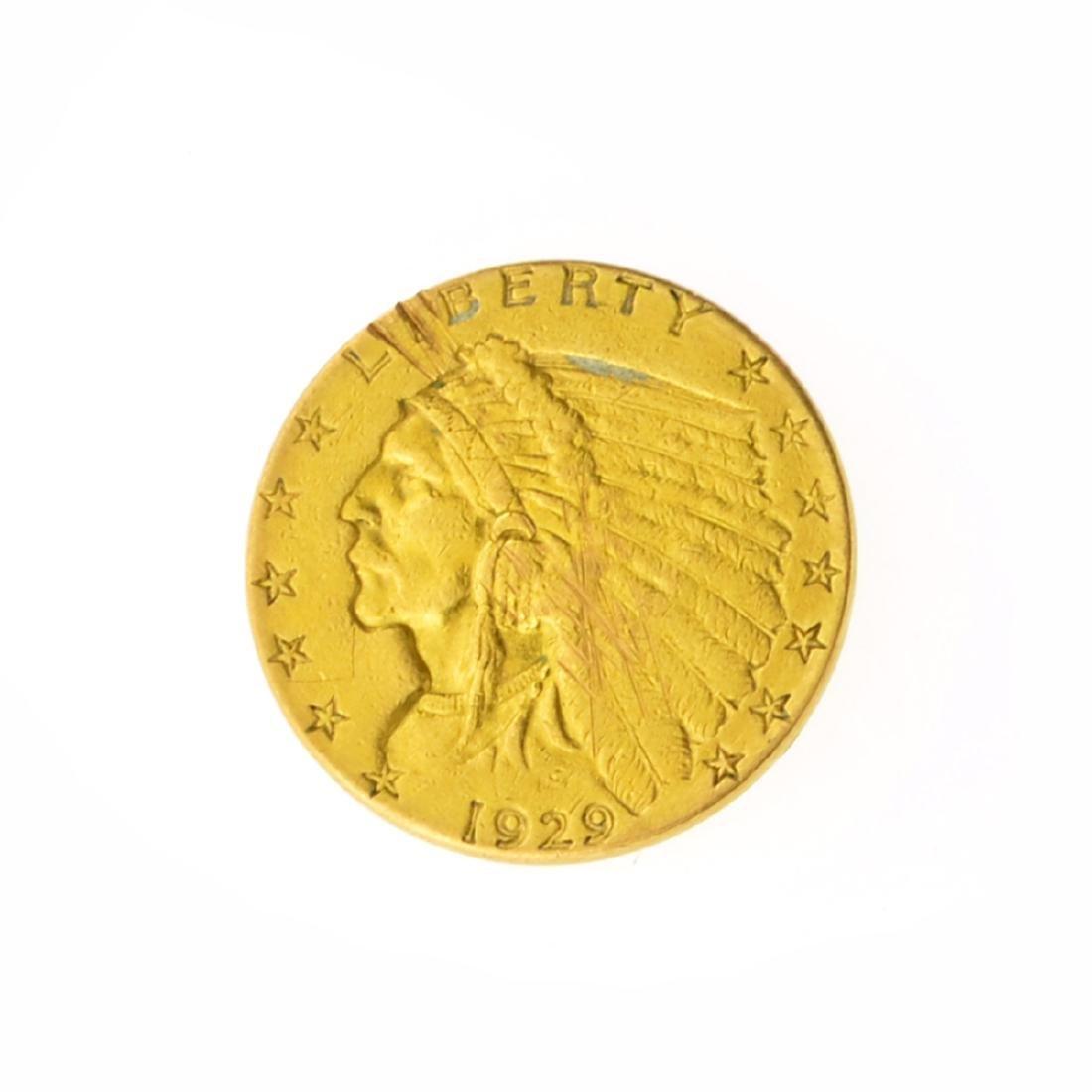 *1929 $2.50 U.S. Indian Head Gold Coin (JG)