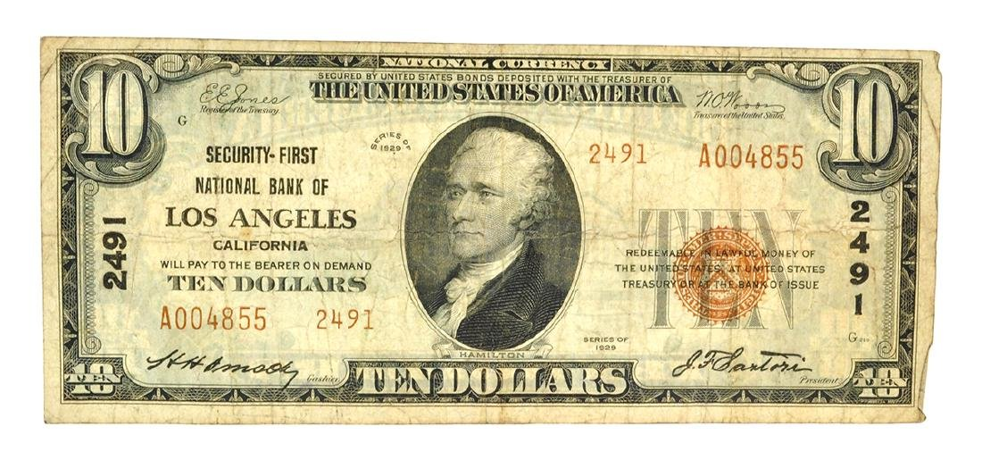 $10 Security-First National Bank Of Los Angeles Ca.