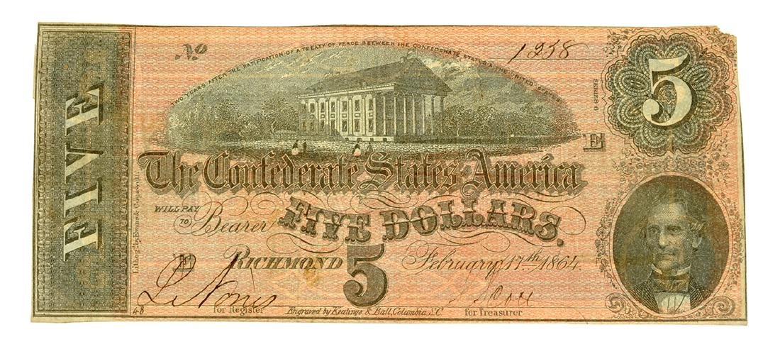Rare 1864 $5 U.S. Confederate Note