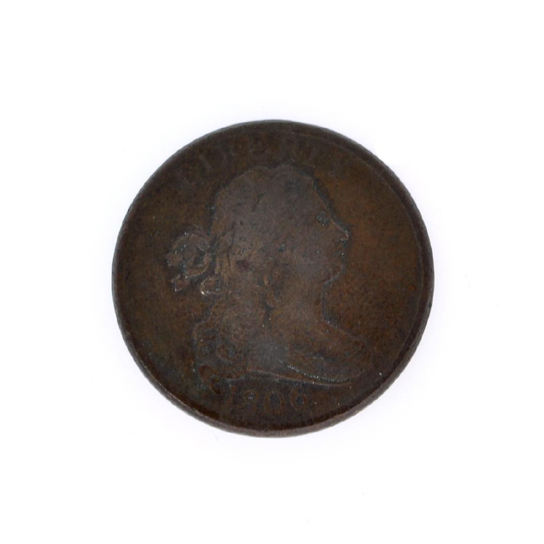 Rare 1806 Draped Bust Half Cent Coin