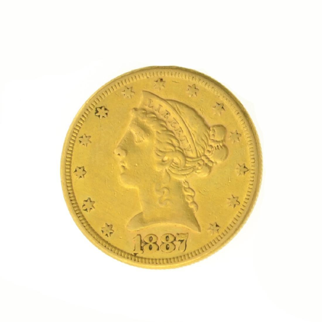 *1887-S $5.00 U.S. Liberty Head Gold Coin (JG)