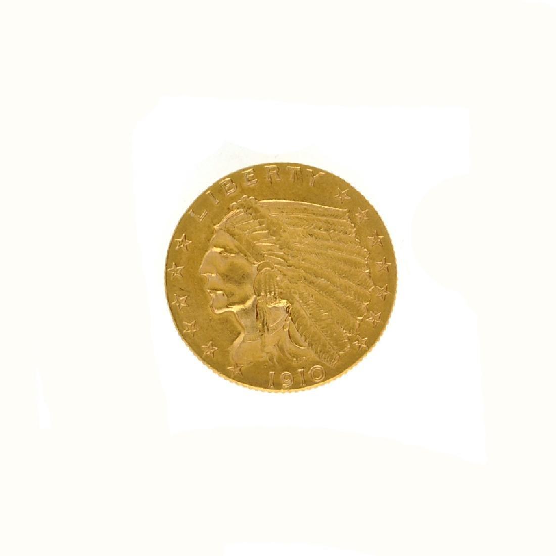 *1910 $2.50 U.S. Indian Head Gold Coin (DF)