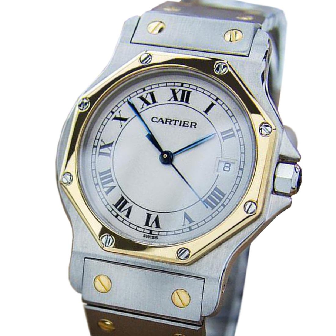 *Luxurious Unisex Cartier Santos Quartz 18k Gold and
