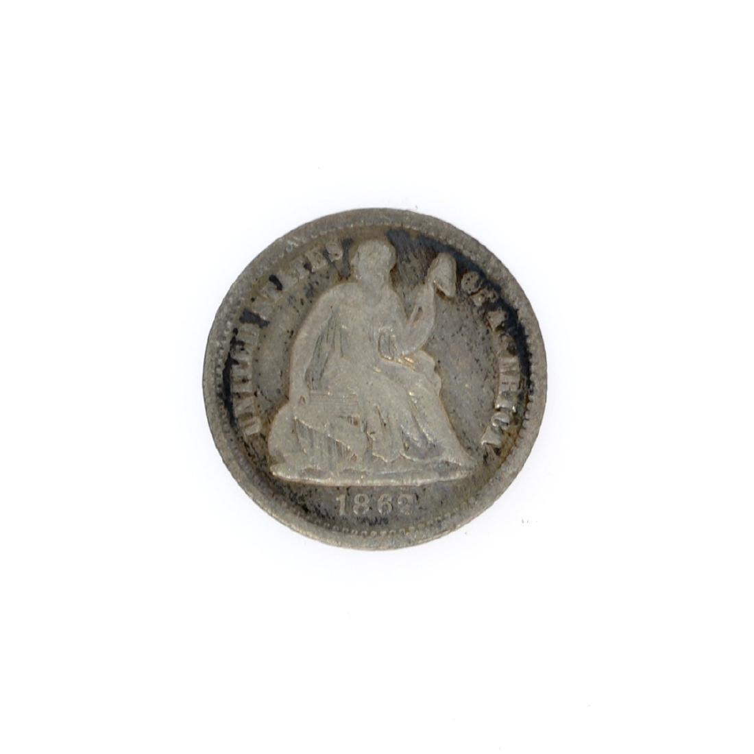 Rare 1862 Liberty Seated Half Dime Coin