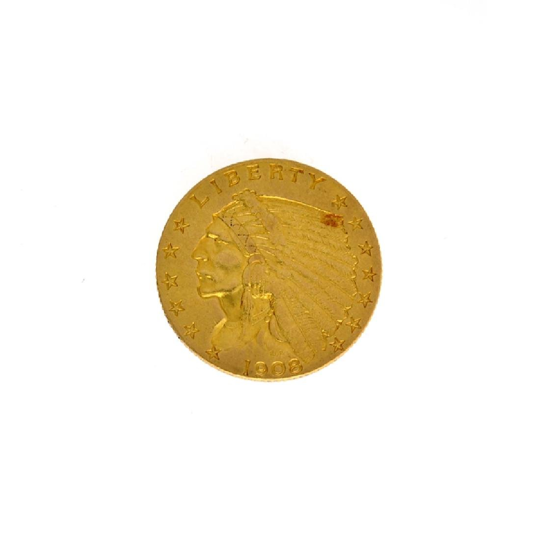 *1908 $2.50 U.S. Indian Head Gold Coin (DF)
