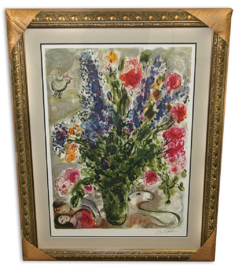 Marc Chagall (After) 'Les Lupins Bleu' Museum Framed &