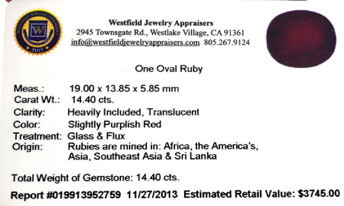 APP: 3.7k 14.40CT Oval Cut Ruby Gemstone - 3