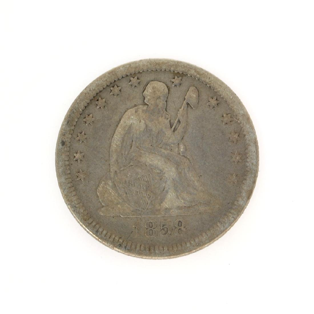 Rare 1858 Liberty Seated Quarter Dollar Coin