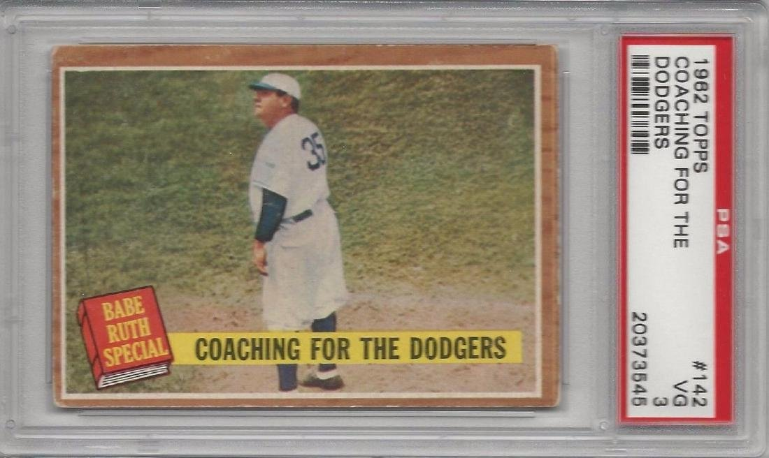 Rare Babe Ruth Coaching For The Dodgers 1962 Topps PSA