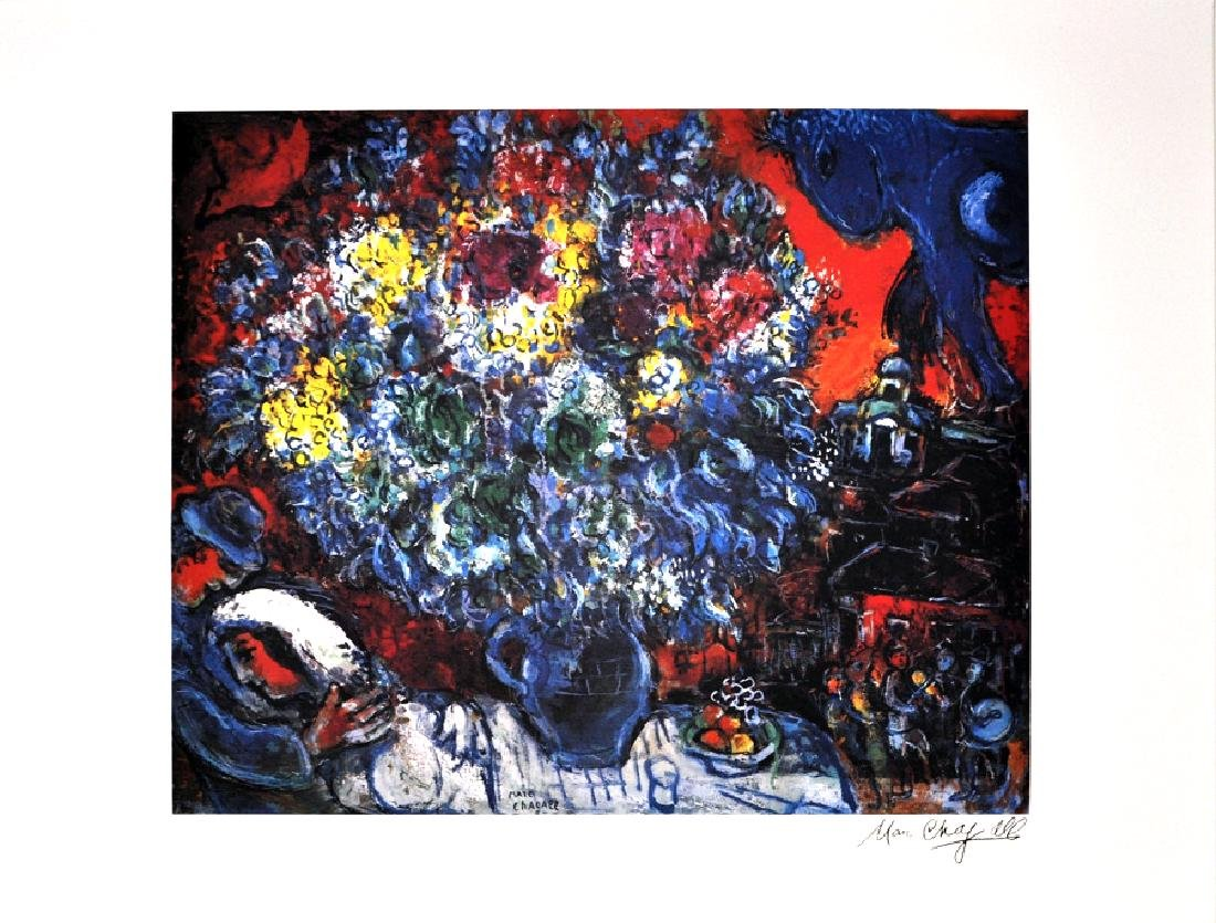 MARC CHAGALL (After) Bouquet de Fleurs et Amants Print,
