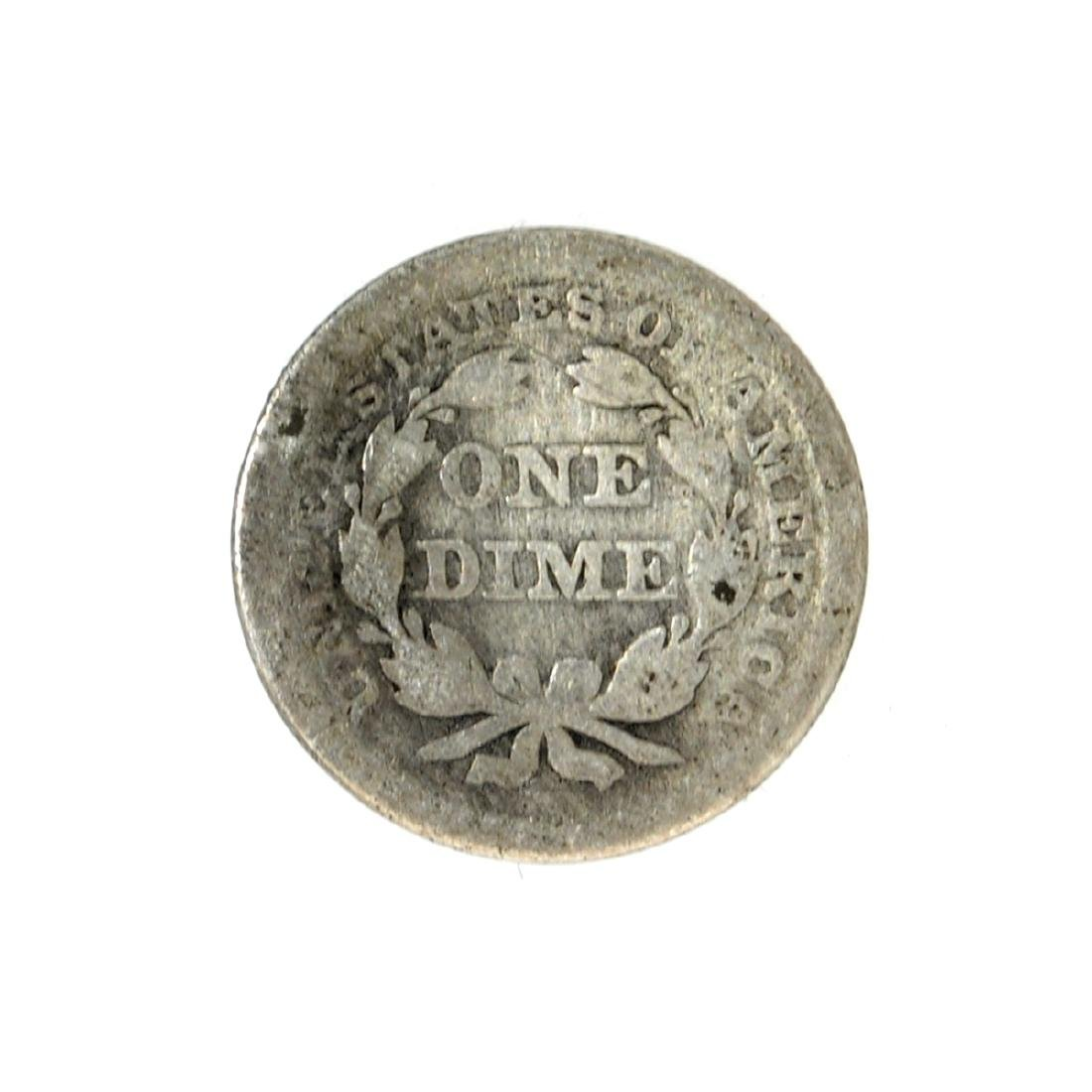 1854 Liberty Seated Arrows At Date Dime Coin - 2