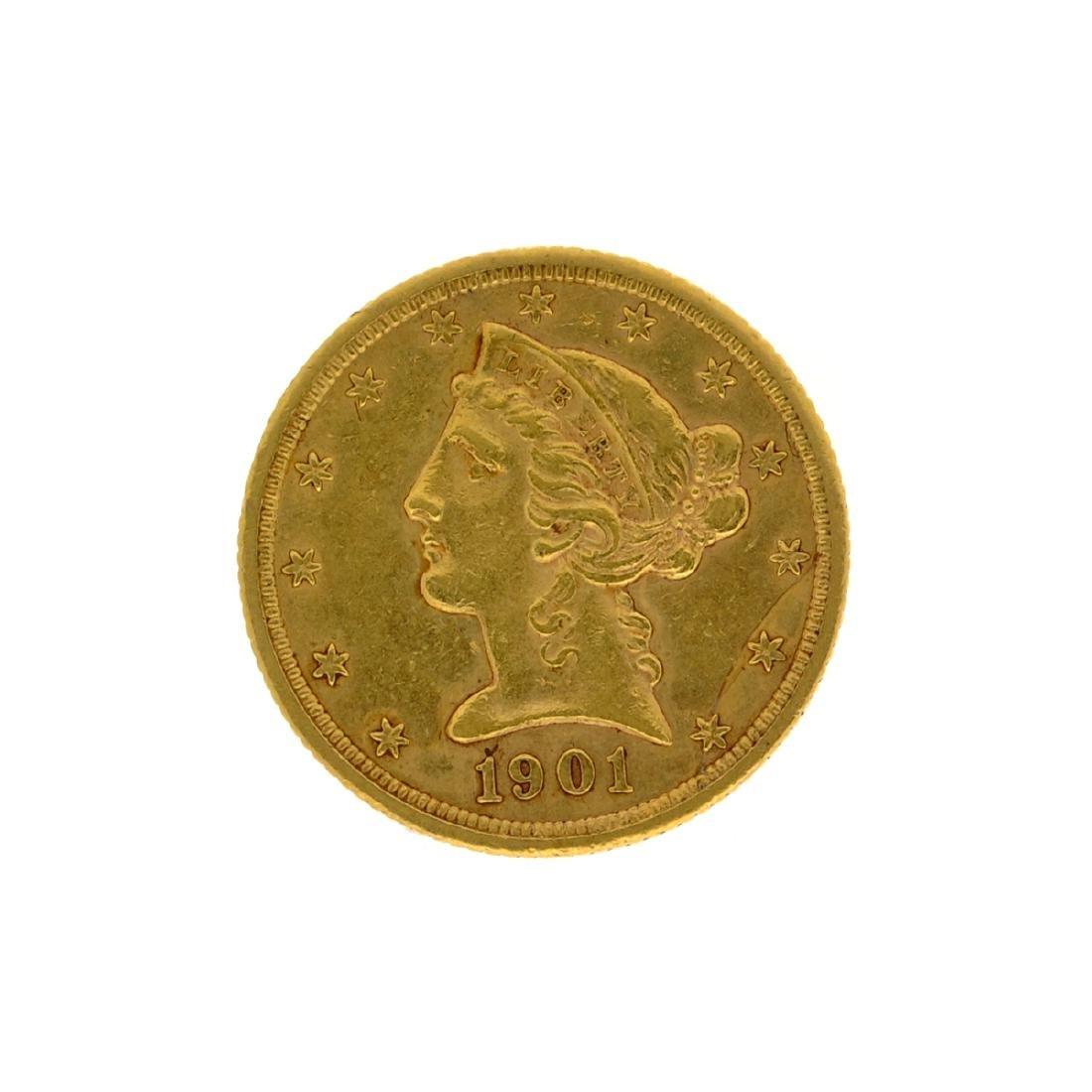 *1901-S $5 Liberty Head Gold Coin (DF)