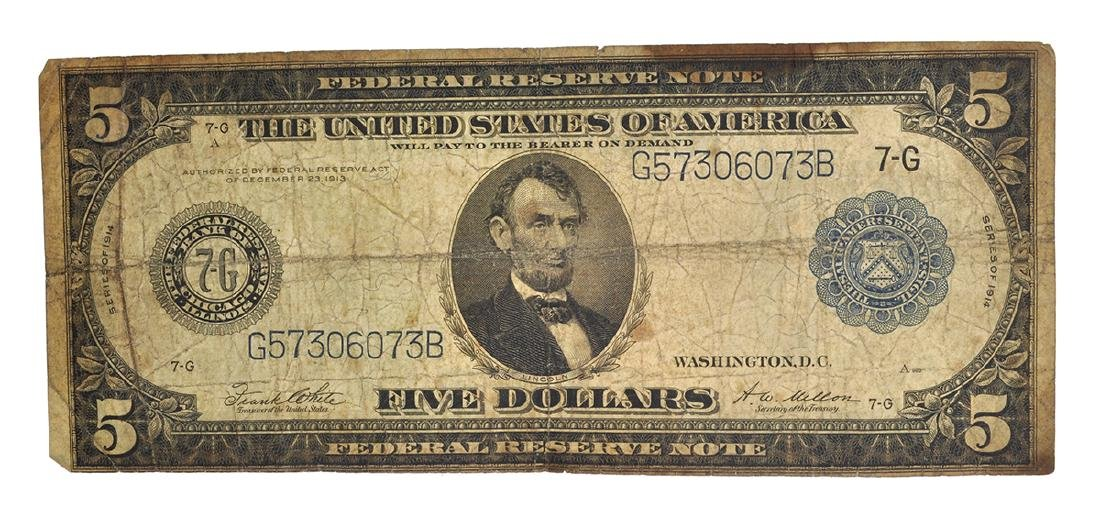 1914 $5 U.S Blue Seal Lincoln Federal Reserve Note