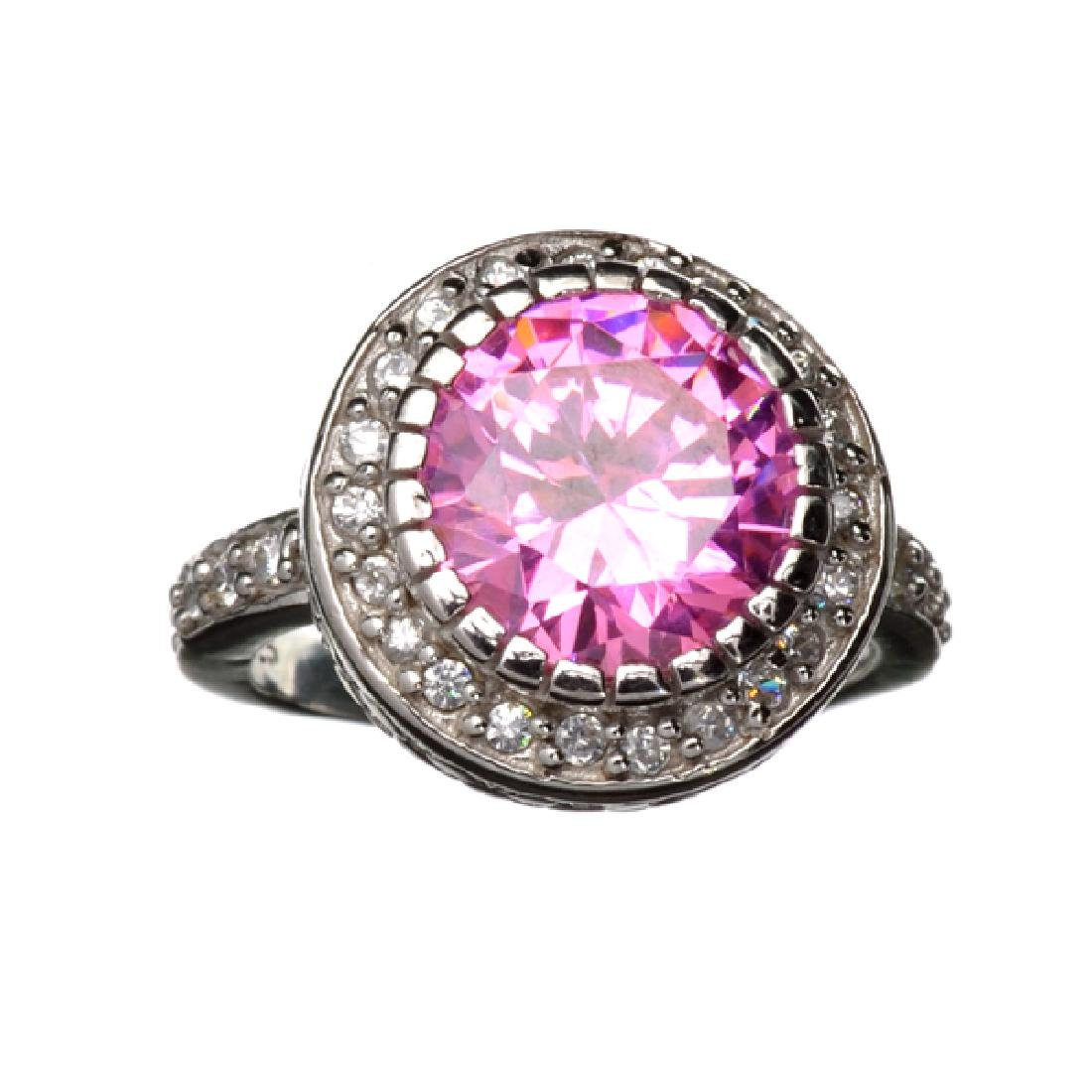 Platinum Overlay Sterling Silver French Pink Cubic