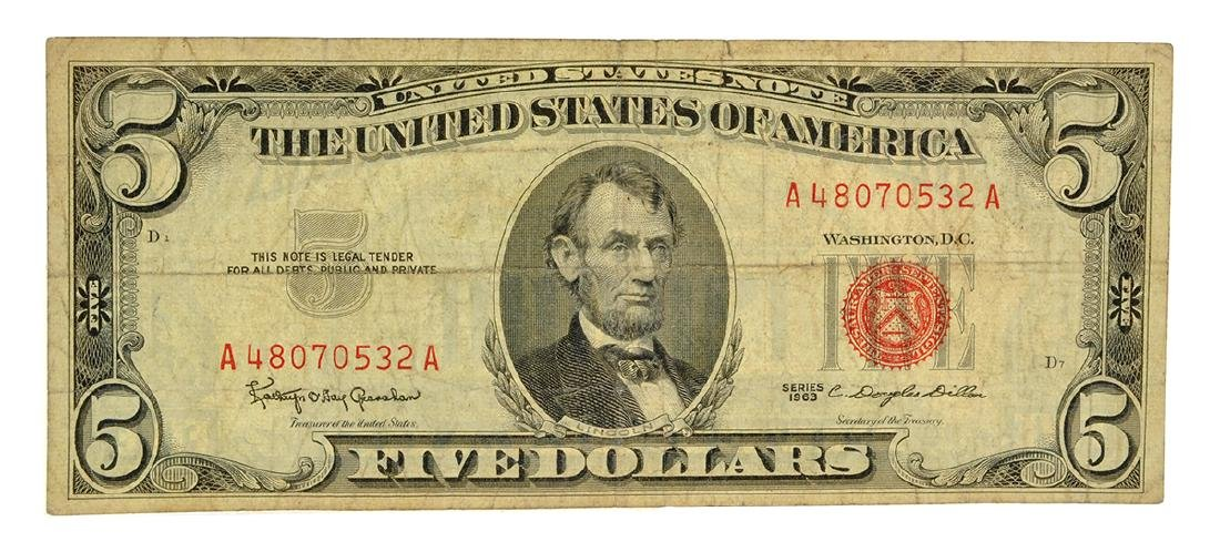 1963 $5 U.S. Red Seal Note