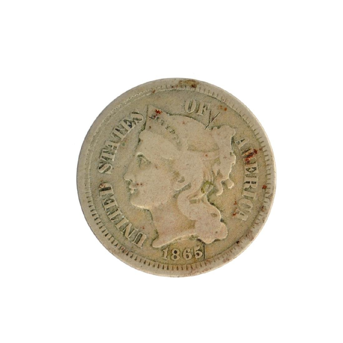 1865 Three-Cent Nickel Coin
